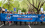 Over six thousand people participated in the March For Science in Sacramento, California on April 22, 2017.   The crowd assembled at Southside Park for music, performances, and speeches before marching through the city streets to the State Capitol building for a rally and additional speakers.  The March For Science seeks to demonstrate and bring awaremess to the importance of science to the world.  Photo/Victoria Sheridan 2017