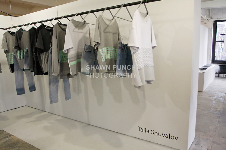 """Talia Shuvalov presents her collection at """"The First Eighteen"""", Parsons MFA Fashion Exhibition Reception opening hosted by Donna Karan at 1359 Broadway NYC, May 14, 2012."""
