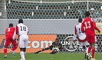 CARSON, CA - March 25, 2012: Luis Mejia (1) of Panama during the Panama vs Trinidad & Tobago match at the Home Depot Center in Carson, California. Final score Panama 1, Trinidad & Tobago 1.