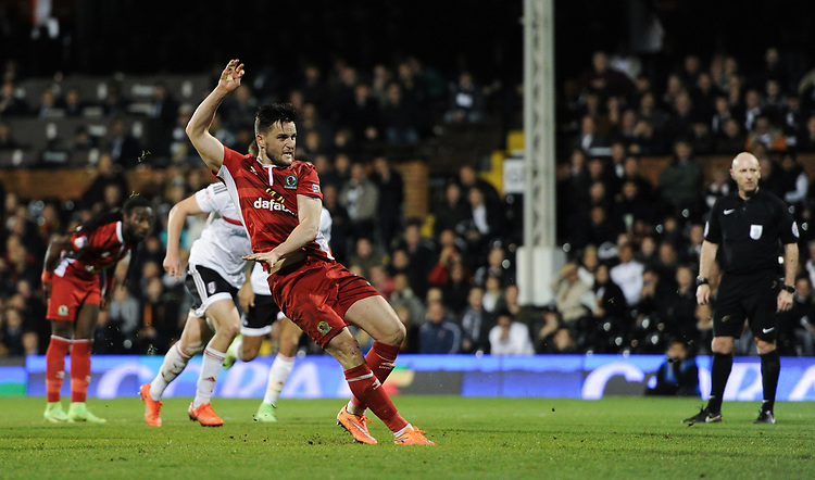 Blackburn Rovers' Craig Conway scores his sides equalising goal from the penalty spot to make the score 1-1<br /> <br /> Photographer /Ashley WesternCameraSport<br /> <br /> The EFL Sky Bet Championship - Fulham v Blackburn Rovers - Tuesday 14th March 2017 - Craven Cottage - London<br /> <br /> World Copyright &copy; 2017 CameraSport. All rights reserved. 43 Linden Ave. Countesthorpe. Leicester. England. LE8 5PG - Tel: +44 (0) 116 277 4147 - admin@camerasport.com - www.camerasport.com