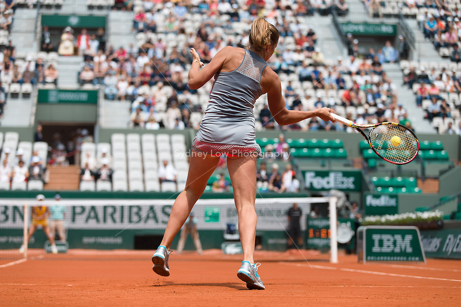 May 26, 2015: Karin Knapp (ITA) in action in a 1st round match against Caroline Wozniacki (DEN) on day three of the 2015 French Open tennis tournament at Roland Garros in Paris, France. Sydney Low/AsteriskImages