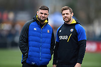 Elliott Stooke and Dave Attwood of Bath Rugby. Gallagher Premiership match, between Worcester Warriors and Bath Rugby on January 5, 2019 at Sixways Stadium in Worcester, England. Photo by: Patrick Khachfe / Onside Images