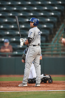Asheville Tourists catcher Johnny Cresto (17) bats during a game with the Hickory Crawdads at L.P. Frans Stadium on May 8, 2019 in Hickory, North Carolina. The Tourists defeated the Crawdads 7-6. (Tracy Proffitt/Four Seam Images)