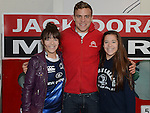 Caoimhe and Niamh McGowan pictured with LEINSTER & IRELAND Out Half  Ian Madigan when he visited Jack Doran Motors. Photo:Colin Bell/pressphotos.ie