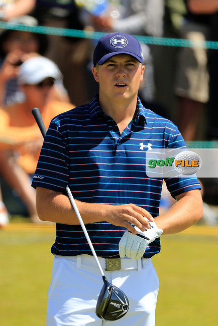 Jordan Speith (USA) on the 1st tee to start his match during Sunday's Final Round of the 2015 U.S. Open 115th National Championship held at Chambers Bay, Seattle, Washington, USA. 6/21/2015.<br /> Picture: Golffile | Eoin Clarke<br /> <br /> <br /> <br /> <br /> All photo usage must carry mandatory copyright credit (&copy; Golffile | Eoin Clarke)