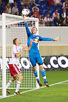 New York Red Bulls goalkeeper Ryan Meara (18) grabs a shot. The New York Red Bulls defeated the Houston Dynamo 1-0 during a Major League Soccer (MLS) match at Red Bull Arena in Harrison, NJ, on May 09, 2012.