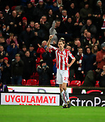 2nd December 2017, bet365 Stadium, Stoke-on-Trent, England; EPL Premier League football, Stoke City versus Swansea City; Peter Crouch of Stoke City salutes their second and winning goal