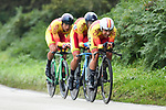 Spanish team in action during the Team Time Trial Mixed Relay in Harrogate of the UCI World Championships 2019 running from Harrogate to Harrogate, England. 22nd September 2019.<br /> Picture: Alex Broadway/SWPix.com | Cyclefile<br /> <br /> All photos usage must carry mandatory copyright credit (© Cyclefile | Alex Broadway/SWPix.com)