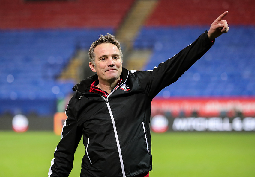 Bolton Wanderers' manager Phil Parkinson celebrates victory at the end of the match<br /> <br /> Photographer Andrew Kearns/CameraSport<br /> <br /> The EFL Sky Bet Championship - Bolton Wanderers v Rotherham United - Wednesday 26th December 2018 - University of Bolton Stadium - Bolton<br /> <br /> World Copyright © 2018 CameraSport. All rights reserved. 43 Linden Ave. Countesthorpe. Leicester. England. LE8 5PG - Tel: +44 (0) 116 277 4147 - admin@camerasport.com - www.camerasport.com
