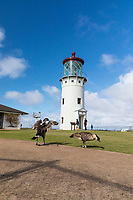 The lighthouse at Kilauea Point National Wildlife Refuge, with Hawaiian Nene geese in foreground, northern Kaua'i.