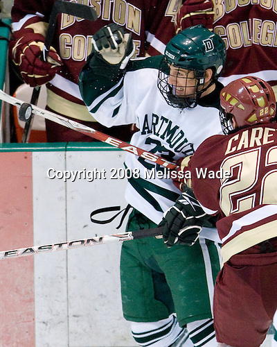 Adam Estoclet (Dartmouth - 23), Paul Carey (BC - 22) - The Boston College Eagles defeated the Dartmouth Big Green 2-1 (OT) on Sunday, November 30, 2008 at Thompson Arena in Hanover, New Hampshire.