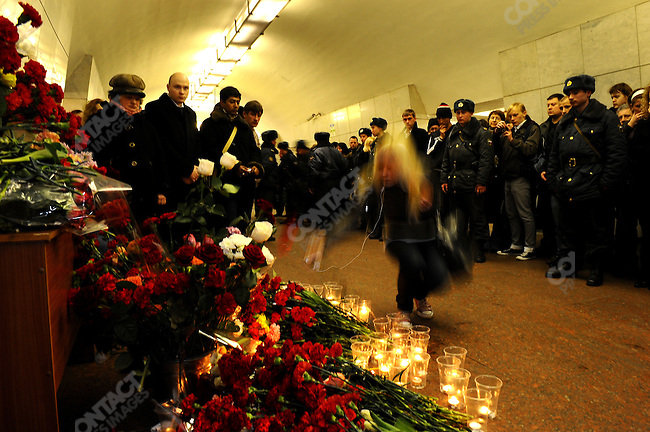 A memorial in the middle of Lubyanka metro station where a suicide bombing took place that morning killing 23 people. Moscow, Russia, March 29, 2010