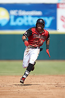 Chris Seise (2) of the Hickory Crawdads hustles towards third base against the Lakewood BlueClaws at L.P. Frans Stadium on April 28, 2019 in Hickory, North Carolina. The Crawdads defeated the BlueClaws 10-3. (Brian Westerholt/Four Seam Images)