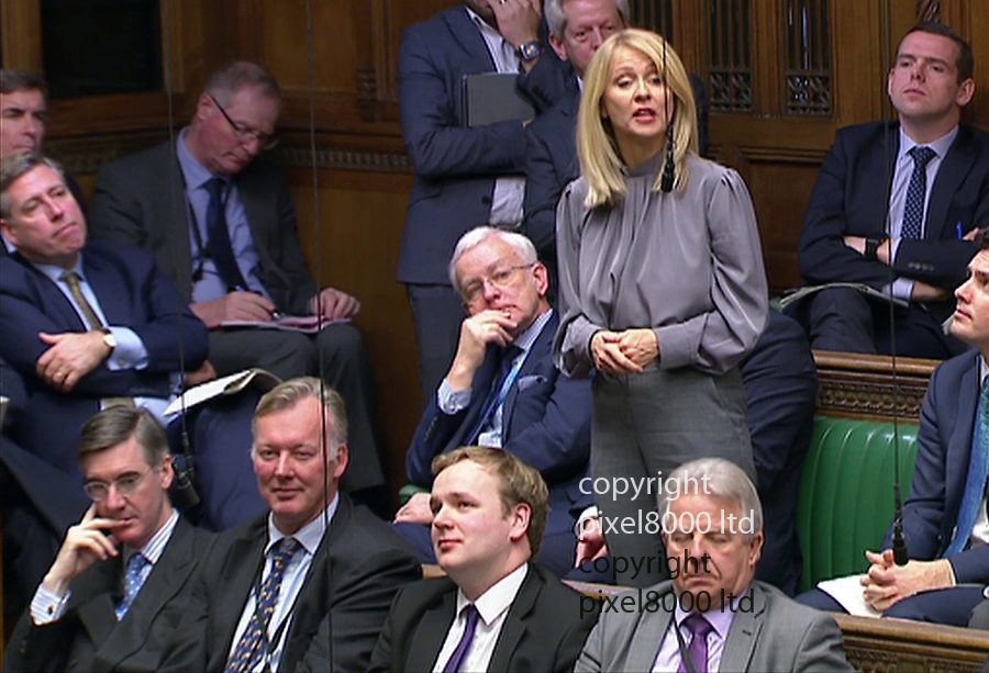 Pic shows: PMQ's 21.11.18<br /> Brexit squabbles abound as PM Theresa May takes on<br /> Jeremy Corbyn<br /> <br /> Esther McVey demanded reassurance as Captain Rees-Mogg sat nearby<br /> <br /> <br /> <br /> <br /> <br /> supplied by Pixel8000 Ltd