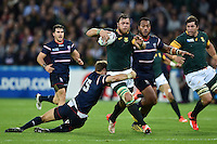 Duane Vermeulen of South Africa takes on the USA defence. Rugby World Cup Pool B match between South Africa and the USA on October 7, 2015 at The Stadium, Queen Elizabeth Olympic Park in London, England. Photo by: Patrick Khachfe / Onside Images