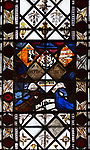 Medieval stained glass window, Holy Trinity church, Long Melford, Suffolk, England - Fragments