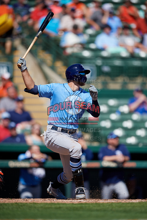 Tampa Bay Rays designated hitter Austin Meadows (17) hits a home run in the top of the fourth inning during a Grapefruit League Spring Training game against the Baltimore Orioles on March 1, 2019 at Ed Smith Stadium in Sarasota, Florida.  Rays defeated the Orioles 10-5.  (Mike Janes/Four Seam Images)
