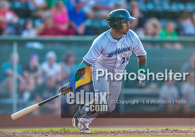 1 September 2013: Vermont Lake Monsters outfielder B.J. Boyd in action against the Connecticut Tigers at Centennial Field in Burlington, Vermont. The Lake Monsters fell to the Tigers 6-4 in 10 innings of NY Penn League action. Mandatory Credit: Ed Wolfstein Photo *** RAW Image File Available ****