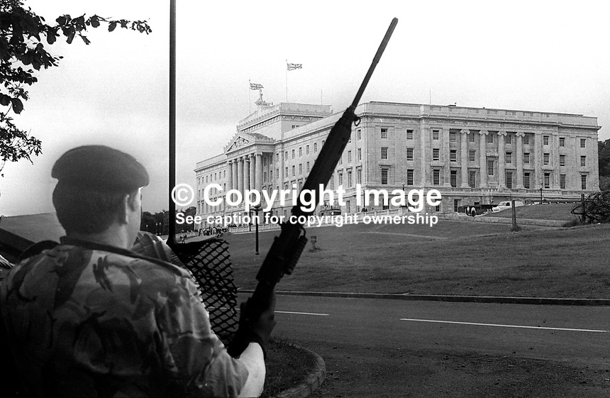 N Ireland Assembly - first meeting of the newly-elected members - 31st July 1973 - security was tight but discreet. 197307310523d<br />
