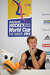The Hague, Netherlands, June 08: Dean Couzins #8 of New Zealand during the press conference after the field hockey group match (Men - Group B) between the Black Sticks of New Zealand and Germany on June 8, 2014 during the World Cup 2014 at Kyocera Stadium in The Hague, Netherlands. Final score 3-5 (1-3) (Photo by Dirk Markgraf / www.265-images.com) *** Local caption ***