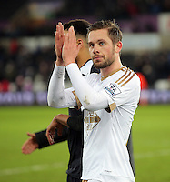 Gylfi Sigurdsson thanks home supporters after the Barclays Premier League match between Swansea City and Watford at the Liberty Stadium, Swansea on January 18 2016