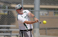 NWA Democrat-Gazette/BEN GOFF @NWABENGOFF<br /> Phil Honeycutt of the Boyd Metals team from Fort Smith gets a hit Thursday, July 13, 2017, during the Men's 65+ Major Division game against Dr. Vinyl in the Senior Softball U.S.A. Midwest Championships at the Rogers Regional Sports Park.