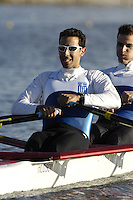 Seville. SPAIN, 18.02.2007, GRE LM2X Bow Elias PAPPAS and Dimitrios MOUGIOS move away from the start pontoon during Sunday morning's  heats, at the FISA Team Cup, held on the River Guadalquiver course. [Photo Peter Spurrier/Intersport Images]    [Mandatory Credit, Peter Spurier/ Intersport Images]. , Rowing Course: Rio Guadalquiver Rowing Course, Seville, SPAIN,