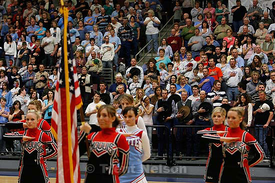 cheerleaders, fans, national anthem. Richfield - Escalante defeats Piute, 1A State boys high school basketball state championship game at the Sevier Valley Center, Saturday, March 1, 2008..; 3.01.2008
