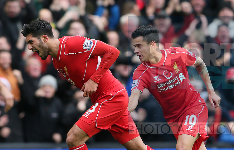 Emre Can of Liverpool celebrates his goal with Philippe Coutinho of Liverpool  - Barclays Premier League - Liverpool vs Chelsea - Anfield Stadium - Liverpool - England - 8th November 2014  - Picture Simon Bellis/Sportimage