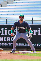 Clinton LumberKings first baseman Ryan Costello (13) holds a runner at first base during a Midwest League game against the Cedar Rapids Kernels on May 28, 2018 at Perfect Game Field at Veterans Memorial Stadium in Cedar Rapids, Iowa. Clinton defeated Cedar Rapids 4-3. (Brad Krause/Four Seam Images)
