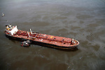 Aerial photograph of the Athos I Tanker, on the Delaware RIver after heavy crude oil spill outside the Citgo asphalt refinery Plant in Paulsboro, NJ   between Philadelphia, New Jersey & Delaware