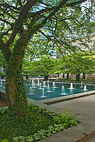 Fountains flow in summer on the grounds of the Art Institute in Chicago, Illinois