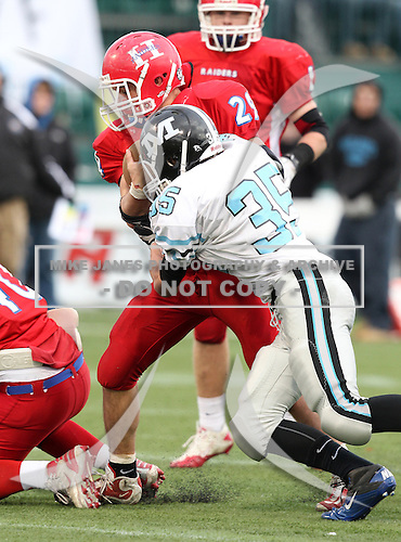 November 6, 2010:  Midland Screaming Eagles varsity football against the Hornell Red Raiders in the Class-B Section V Championship game at Marina Auto Stadium in Rochester, New York.  Hornell defeated Midlakes 67-0.  (Copyright Mike Janes Photography)