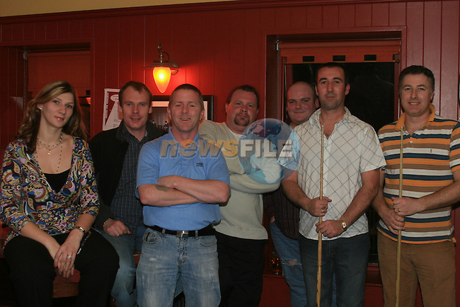Jurgita, Adrian Moore, Paul Watters, Shane Kelly, Darren Connolly, Chris Cudden and Damie Moore at the Sosad fundraising pool tournament in O'Casey's Pool Lounge...Photo NEWSFILE/Jenny Matthews.(Photo credit should read Jenny Matthews/NEWSFILE)....This Picture has been sent you under the condtions enclosed by:.Newsfile Ltd..The Studio,.Millmount Abbey,.Drogheda,.Co Meath..Ireland..Tel: +353(0)41-9871240.Fax: +353(0)41-9871260.GSM: +353(0)86-2500958.email: pictures@newsfile.ie.www.newsfile.ie.FTP: 193.120.102.198.