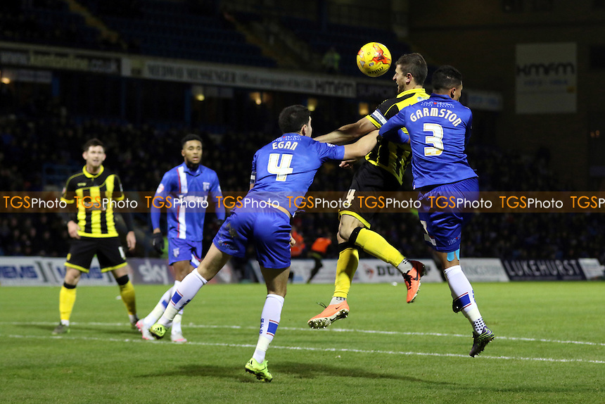 Burton's John Mousinho heads the ball into the Gillingham goalmouth during Gillingham vs Burton Albion, Sky Bet League 1 Football at the MEMS Priestfield Stadium, Gillingham, England on 12/12/2015
