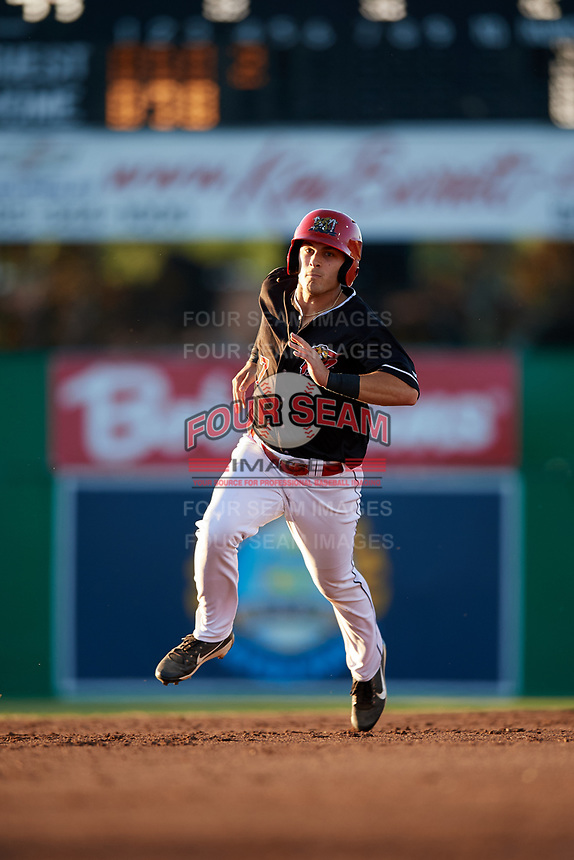 Batavia Muckdogs left fielder Michael Donadio (7) running the bases during a game against the State College Spikes on July 7, 2018 at Dwyer Stadium in Batavia, New York.  State College defeated Batavia 7-4.  (Mike Janes/Four Seam Images)