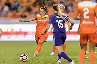 Houston, TX - Saturday June 17, 2017: Andressa attempts to clear the ball from her goal during a regular season National Women's Soccer League (NWSL) match between the Houston Dash and the Orlando Pride at BBVA Compass Stadium.