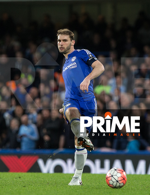 Branislav Ivanovic of Chelsea plays a pass during the FA Cup 5th round match between Chelsea and Manchester City at Stamford Bridge, London, England on 21 February 2016. Photo by Andy Rowland.