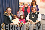 Winner  of the Harry Potter competition run by Kerry Library to mark World Book Day. .L-R Aine O'Sullivan with her sisters, Brid and Aoife, her grandmother,  Kitty and mother, Loretto and Mayor of Kerry, Terry O'Brien.