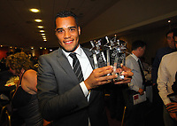 Pictured: Goalkeeper Michel Vorm with all three awards he has won. Thursday 10 May 2012<br /> Re: Swansea City FC awards dinner at the Liberty Stadium.