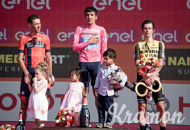 Richard Carapaz (ECU/Movistar) wins the 102nd Giro d'Italia, Vincenzo Nibali (ITA/Bahrain-Merida) is 2nd & Primoz Roglic (SVK/Jumbo-Visma) finishes 3rd<br /> <br /> Stage 21 (ITT): Verona to Verona (17km)<br /> 102nd Giro d'Italia 2019<br /> <br /> ©kramon