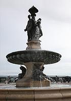 General view of the fountain at Place de la Bourse, Bordeaux, Nouvelle-Aquitaine, France on 16.10.19.