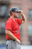 Manager Cole Armstrong (33) of the Kannapolis Intimidators in a game against the Greenville Drive on Thursday, Aug. 18, 2016, at Fluor Field at the West End in Greenville, South Carolina. Greenville won, 2-0. (Tom Priddy/Four Seam Images)