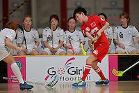 China's Anni Guo in action during the World Floorball Championships 2017 Qualification for Asia Oceania Region - Korea v China at ASB Sports Centre , Wellington, New Zealand on Saturday 4 February 2017.<br /> Photo by Masanori Udagawa<br /> www.photowellington.photoshelter.com.