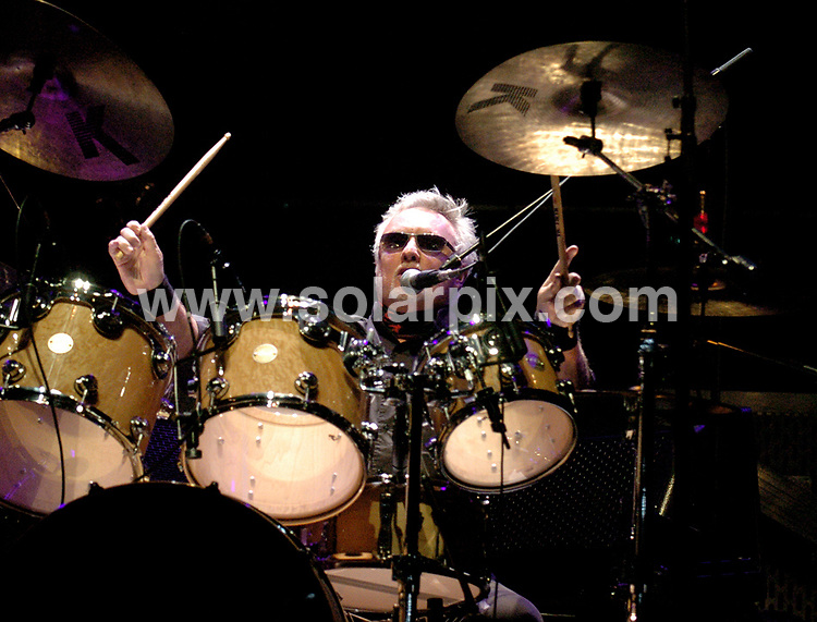 **ALL ROUND PICTURES FROM SOLARPIX.COM**.**WORLDWIDE SYNDICATION RIGHTS**.Queen and Paul Rodgers perform live in concert as part of their European Tour, in Liverpool Echo Arena, UK. 18th October 2008..This pic: Roger Taylor..JOB REF: 7638 SGD     DATE: 18_10_2008.**MUST CREDIT SOLARPIX.COM OR DOUBLE FEE WILL BE CHARGED* *UNDER NO CIRCUMSTANCES IS THIS IMAGE TO BE REPRODUCED FOR ANY ONLINE EDITION WITHOUT PRIOR PERMISSION*