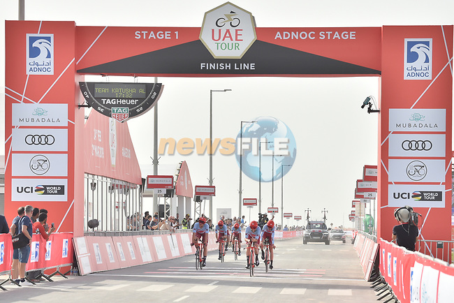Team Katusha Alpecin approach the finish line of Stage 1 of the 2019 UAE Tour, a team time trial running 16km around Al Hudayriat Island, Abu Dhabi, United Arab Emirates. 24th February 2019.<br /> Picture: LaPresse/Massimo Paolone | Cyclefile<br /> <br /> <br /> All photos usage must carry mandatory copyright credit (© Cyclefile | LaPresse/Massimo Paolone)