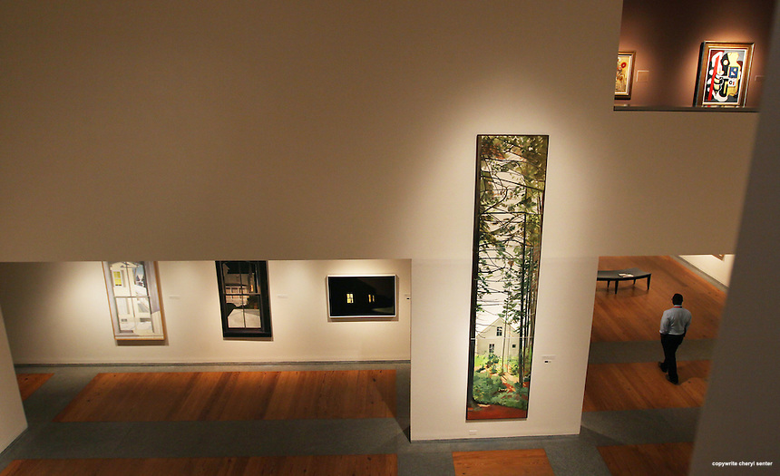 """Spanning 169 inches in height, Lois Dodd Woods (triptych), 1975 oil on linen 169 x 36 inches Collection of Titia Hulst and Paul Francis,  at the Lois Dodd exhibit """"Catching the Light,"""" at the Portland Museum of Art in Portland, ME, Saturday, Feb. 23, 2013.  (Cheryl Senter for the New York Times)"""