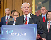 United States Senator Orrin Hatch (Republican of Utah), Chairman, US Senate Finance Committee, makes remarks as US Senate and House Republicans announce their new tax plan endorsed by US President Donald J. Trump in the US Capitol in Washington, DC on Wednesday, September 27, 2017.  Senator Hatch, as the most senior senator in the majority party, also serves as the president pro tempore of the US Senate, a position that puts him third in the line of succession to the US presidency.<br /> Credit: Ron Sachs / CNP