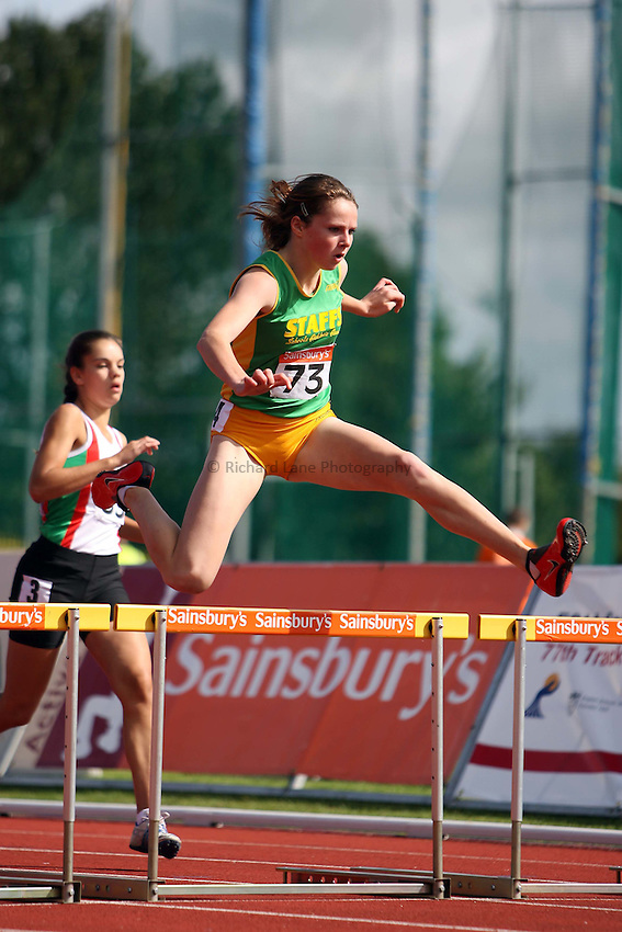Photo: Rich Eaton/Sportsbeat Images...Sainsbury's English Schools Track and Field Championships, Birmingham. 14/07/2007. Rhiannon Linington-Payne of Staffs competes in heat 3 of the 300m hurdles for intermediate girls