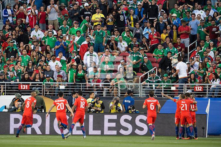 Action photo during the match Mexico vs Chile, Corresponding to the quarterfinals of the America Cup Centenary 2016 at Levis Stadium.<br /> <br /> Foto de accion durante el partido Mexico vs Chile, Correspondiente a los Cuartos de Final de la Copa America Centenario 2016, en el Estadio Levis, en la foto:  Alexis Sanchez de Chile celebra su gol<br /> <br /> <br /> 18/06/2016/MEXSPORT/Jorge Martinez.